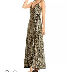 NWT Sequined Leopard Print Wrap Dress